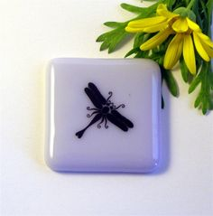 Dragonfly Fused Glass Magnet on Lilac by GreenhouseGlassworks, $12.00