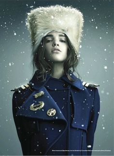 This hat has military inspiration. It appears Russian in style. Hats similar to this were worn around world war one. Pinned by Bethany R. 3/28