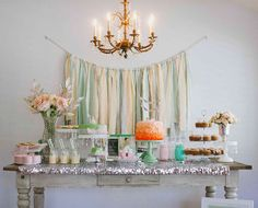 mint and peach dessert table   Breakfast at Tiffany's themed birthday party