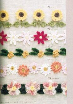 Floral borders - with charts Moss ༺✿ƬⱤღ  https://www.pinterest.com/teretegui/✿༻