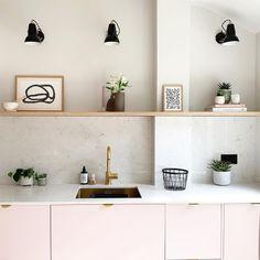 Pink Kitchen Cabinets, Kitchen Cabinet Layout, Contemporary Kitchen Design, Interior Design Kitchen, Ikea Hacks, Rustic Kitchen, Kitchen Decor, Kitchen Ideas, Cheap Kitchen Makeover