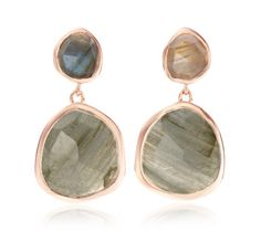 Siren Medium Drop Earrings in 18ct Rose Gold Plated Vermeil on Sterling Silver with Labradorite