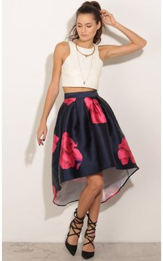 Skirts > Floral High-Low Circle Skirt In Navy Tulip Skirt, Bubble Skirt, High Low Skirt, What To Wear, Ballet Skirt, Fancy, Clothes For Women, My Style, Womens Fashion