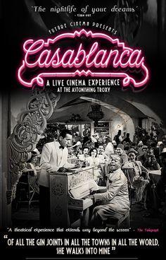 Future Cinema presents Casablanca New Movie Posters, Classic Movie Posters, Movie Titles, Classic Movies, Old Movies, Great Movies, Casablanca Movie, Casablanca 1942, Romantic Couples