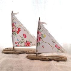 """2 Driftwood Beach Decor Sailboats Shabby Chic with Cath Kidston """"Summer Blossom"""" sails Seaside Lakeside Cottage Wedding Cake Toppers RTS"""