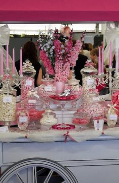Candy Buffet - love the flowers in the same colors......