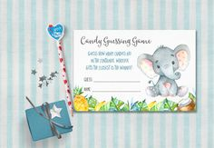 Elephant Baby Shower Candy Guessing Game, Baby Shower Games, Elephant Candy Guessing Game. Matching baby shower games and invitation at: tranquillina.etsy.com