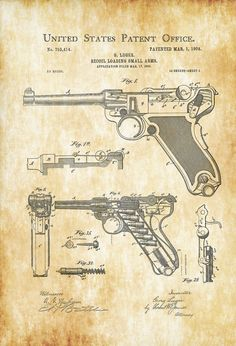 Talk about the latest airsoft guns, tactical gear or simply share with others on this network Luger Pistol, Revolver, Wall Prints, Poster Prints, Patent Office, Gun Art, Patent Drawing, Retro, Patent Prints