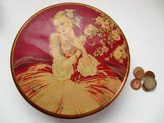 French vintage tin box red gold woman shabby chic by froufrouretro, $45.00