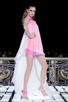 Hot Neon Pink with Sheer White short-long hemline dress @Versace Versace Atelier Spring Summer Couture 2013 #Fashion