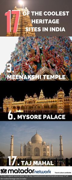 Are you planning to travel to India? Discover 17 of the coolest heritage sites in India including the Meenakshi Temple in Madurai, Mysore Palace in Southern India and of course the Taj Mahal. Discover all 17 by clicking through on the pin.  www.travel4life.club