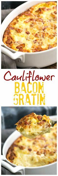 Cauliflower Bacon Gratin | That Skinny Chick Can Bake | Comforting cheesy cauliflower casserole