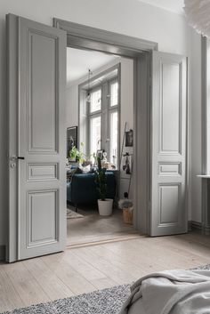 14 Unique Wooden Door Design Ideas - Lori Home Home Door Design, Wooden Door Design, Wooden Doors, Grey Interior Doors, Painted Interior Doors, Grey Doors, Interior Design Courses Online, Internal French Doors, Double French Doors
