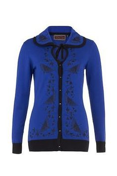 Voodoo #vixen edwina bird embroidery dita #cardigan blue #vintage 1950s pinup new,  View more on the LINK: http://www.zeppy.io/product/gb/2/231757570772/