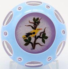 CHARMING John DEACONS GOLDFINCH BIRD Latticino 3 Overlay Art Glass PAPERWEIGHT  | Pottery & Glass, Glass, Art Glass | eBay!