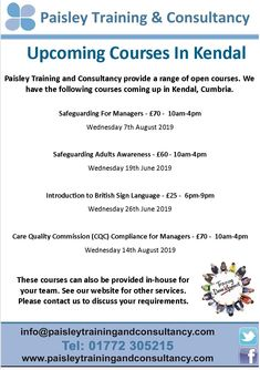 Cumbria, Training Courses, Management