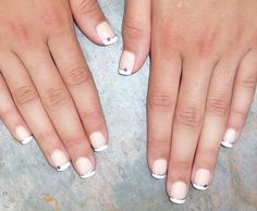 rhinestone nails | ... rhinestones picture Nails french designs Purple and silver nail
