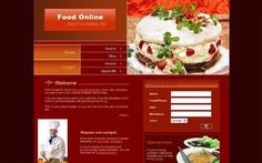 Free Dark Red Restaurants PSD CSS Web Template