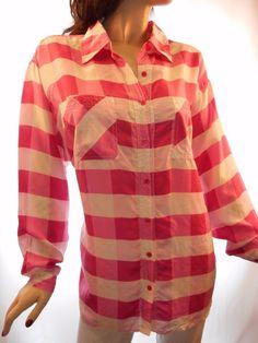 $13.59 & Free Shipping! Newport News Size2X Pink Plaid 100% Silk Button Front Long Sleeve Blouse #NewportNews #ButtonDownShirt #Casual