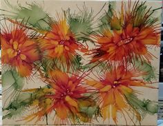 Flowers in alcohol ink on colored tile. by Tina SOLD