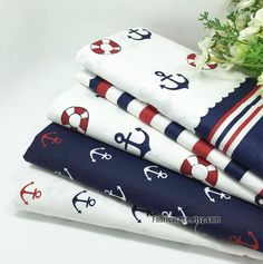 "This fabric is marine style cotton fabric, white, red and navy blue color, 6 patterns: 1# plaid, 2# stripes, 3# anchor I, 4# anchor navy, 5# anchor white, 6# anchor stripes. * Fabric: cotton fabric, 100% cotton, white cotton with anchor, sail boat, stripes, plaid, soft, a bit light weight, 170g/yard. * Width 63 inch (160cm), listed for 18""X63 (45cm x 160cm). If you need one yard, I will ship 90 cm X160cm. * Additional yardage will be cut in one continuous piece. * Suit for sewing craftin..."