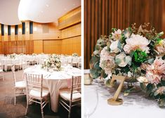Tres Chic Affairs - Lovelock & Co. Photography - Splendid Sentiments Florals - Blush - Ivory - Gold  - San Diego - Scripps Seaside Forum - Beach Wedding - chiavarri chairs - gold glitter table numbers - centerpiece
