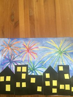 Easy new year art project. I like that even though it can be a guided activity, there are many ways for kids to make it their own! Grade 1 Art, First Grade Art, New Year's Eve Crafts, Diy Arts And Crafts, Classroom Art Projects, Art Classroom, Fireworks Craft, New Year Art, Chinese New Year Crafts