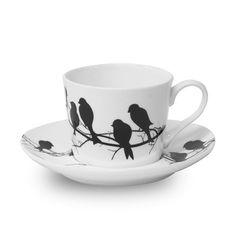 Blackbird cup and saucer set