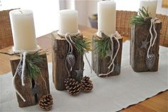Love this as an alternative Advent wreath Country Christmas, All Things Christmas, Winter Christmas, Christmas Holidays, Xmas, Deco Dyi, Deco Table Noel, Advent Candles, Holiday Crafts