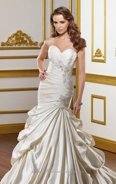 Mermaid Floor-length Sweetheart Dress Candle Light Bandage Wedding Gowns 1011 Applique Beads Sweep Train