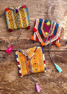 Colourful tribal/ethnic style pouches