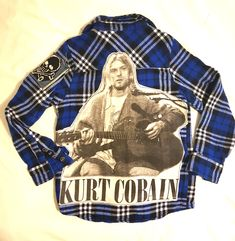 KIDS Upcycled Flannel Rock Top with Kurt Cobain-size Black Plaid, Plaid Flannel, Kurt Cobain, Upcycle, Boutique, Rock, My Style, Tees, Mens Tops