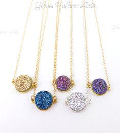Druzy Pendant Necklace - Druzy Stardust Necklace