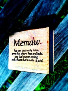 Memaw Wood BlockChoose Your Endearing Name by DesignsBySyds