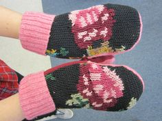 The DIY Sweater Mitten Making Mansion and Tutorial: A Blast From the Past: 2012   The Renegade Seamstress Renegade Seamstress, Work Boot Socks, Sweater Mittens, Knit Sneakers, Cool Sweaters, Some Pictures, Refashion, Make Your Own, Knitted Hats