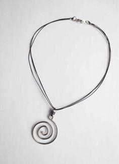 Bicycle Spoke Swirl Pendant and Purple Bead Necklace