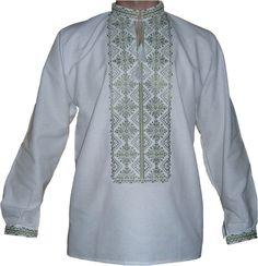 #вишиванка чоловіча безпосередньо  на домотканому полотні зеленими нитками (Арт. 00404)