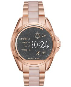 Michael Kors Womens Access Bradshaw Digital Rose Gold-Tone Stainless Steel and Blush Acetate Bracelet Smart Watch 44mm MKT5013