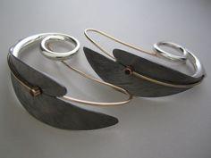 Earrings  silver, gold, ruby  Anticlastic  www.juhakoskela.com