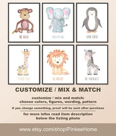 Zoo animal nursery, watercolor animal prints for baby animal nursery, be silly be brave stand tall, nursery animals Print/Canvas/Digital https://www.etsy.com/listing/521173668/