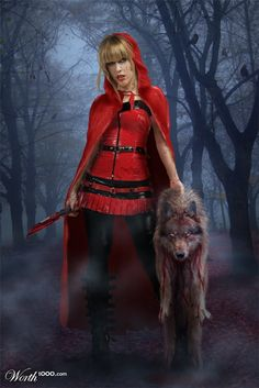 In the deep dark woods, on the way to grandma's house, Red contemplated the things she could to do with her inheritance. Out of the fog comes a growling, charging wolf. Completely unaware of the goodies in Red's basket, the wolf received a twelve inch blade to the heart, stopping him dead in his tracks. With evil in her eye and death in her hand, Red continued on her trek to grandma's house. Nothing, not even the big bad wolf, was going to stop her from getting to that goldmine.