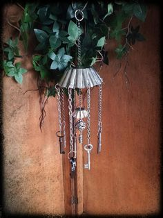 Handmade silver junk found items windchime