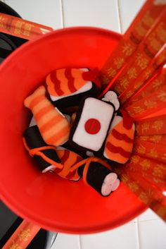 Hello kitty games (sushi felt game) can use those sushi looking erasers and chopsticks