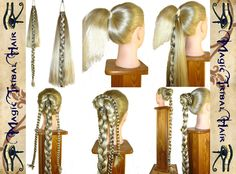 2 x CUSTOM Fishtail ATTACHMENT - UPGRADE for 2 Plaits, Rapunzel Braids, Hair Extension, Hair Fall, Ponytails, long fantasy hair wigs. €17.00, via Etsy.