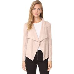 BB Dakota Wade Faux Suede Jacket ($105) ❤ liked on Polyvore featuring outerwear, jackets, parchment, bb dakota, faux suede jacket, drape jacket, long sleeve jacket and drapey jacket
