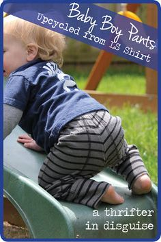 DIY Upcycled Baby Boy Knit Pants -- Use the sleeves of a large adult shirt to make small pants. I've been wanting projects to reuse my husband's old clothes for the children. This is a great start.
