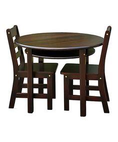 Espresso Kids' Three-Piece Round Table & Chair Set