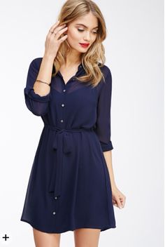 Blue chiffon button down dress