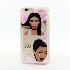 For iPhone 6 6S Kim Kardashian Kimoji Classy Crying Face Cool Liquid Glitter Case