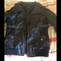 Black leather jacket Black leather jacket, zipper works perfectly, no tears or anything, in good condition Jackets & Coats